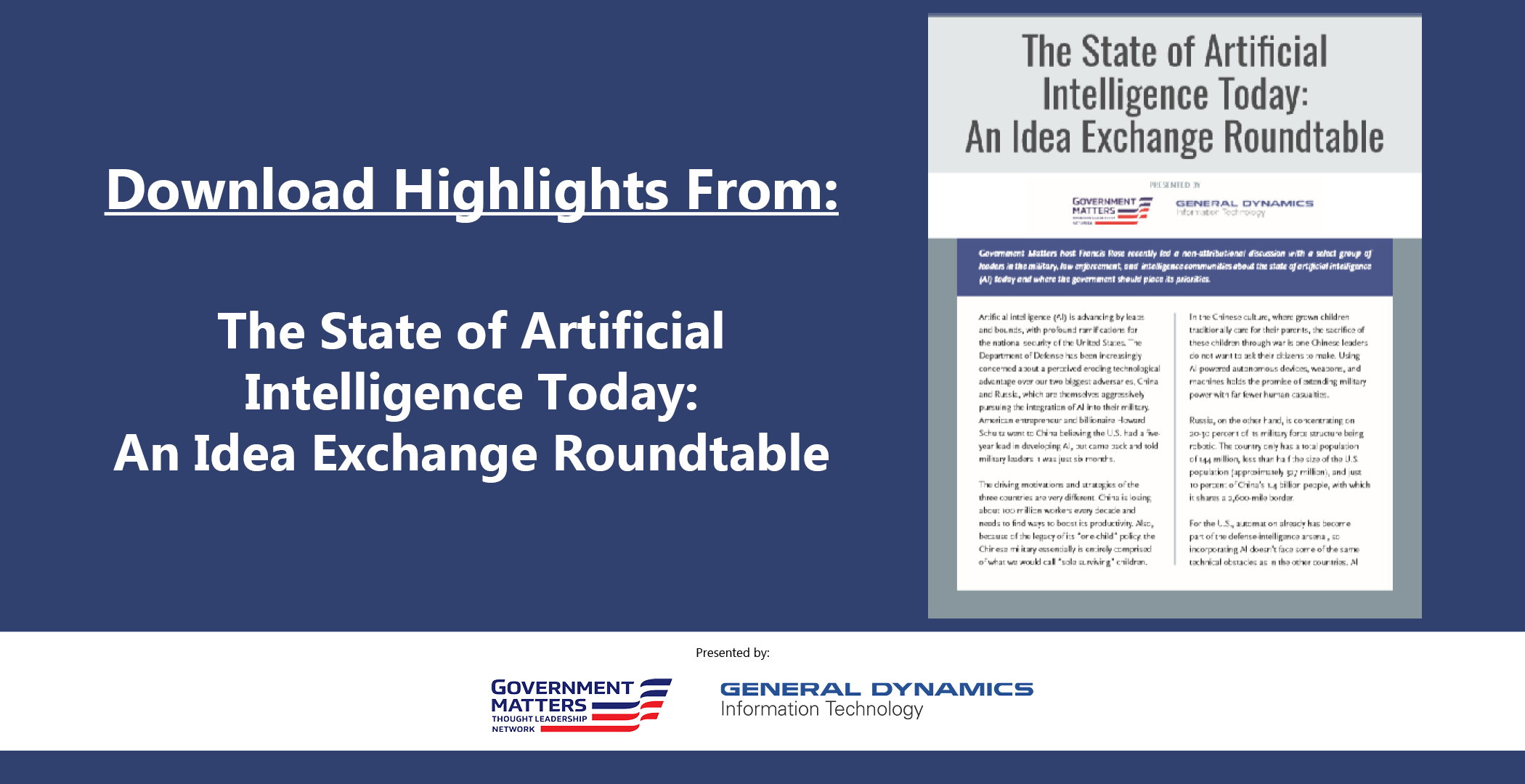 The State of Artificial Intelligence: An Idea Exchange Roundtable